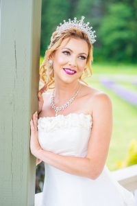 Aysha wedding work. A blonde bride with her wedding dress