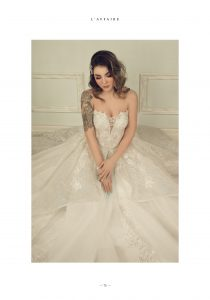 Anastassia's wedding shot. A bride sitting with her wedding dress