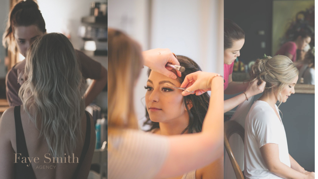 Faye Smith Agency Artists are working. Three images combined and showing different people making hairs.