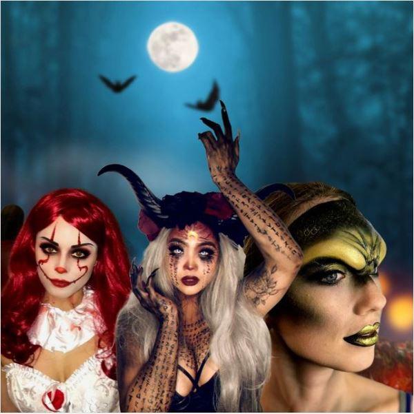 halloween makeup collage